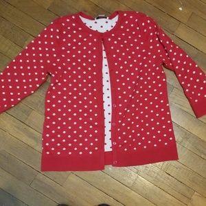 Christopher & Banks red/white polka dot cardigan
